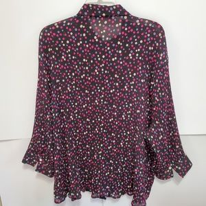 Violet & Claire Tops - Violet and Claire blouse Sheer size 3X Polka Dots